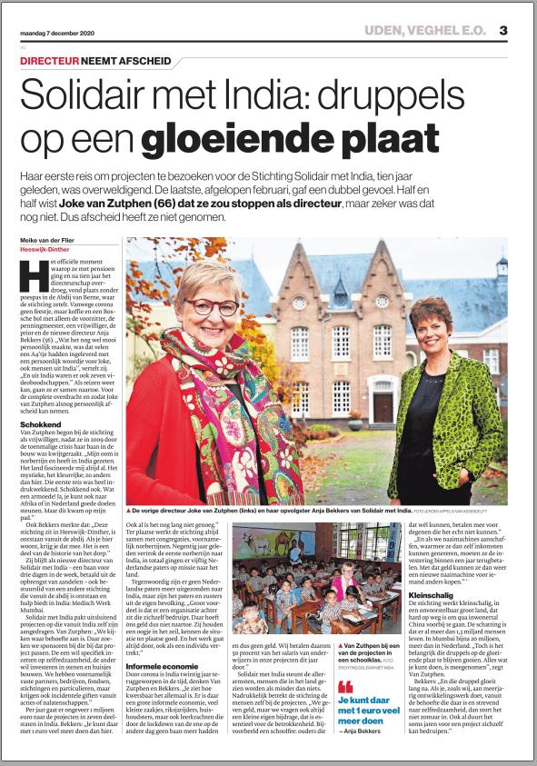 Solidair met India: druppels op een gloeiende plaat_Brabants Dagblad_07.12.2020