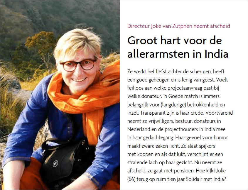 Solidair met India_Directeur Joke van Zutphen neemt afscheid